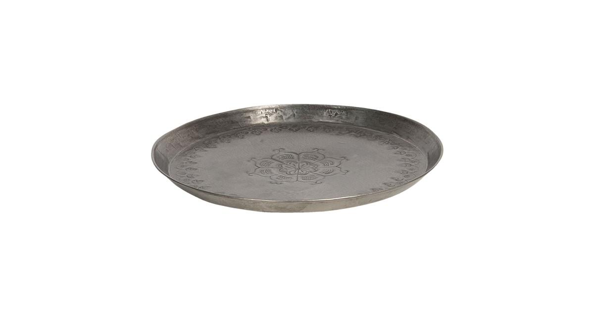Clayre & Eef Dienblad   Ø 27*3 cm   Zilverkleurig   Ijzer   Rond      6Y4052