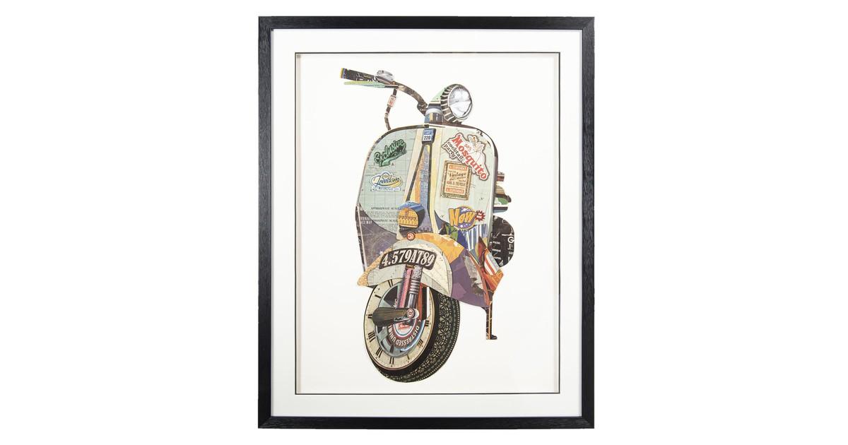Schilderij | 72*4*90 cm | Multi | Kunststof / papier | Rechthoek | Scooter | Clayre & Eef | 50323