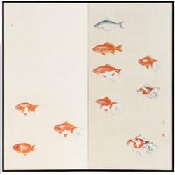 Fine Asianliving Fine Asianliving Kamerscherm Oranje Vissen 2 Panelen