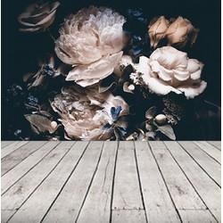 Vliesbehang - 300x230cm - bloemen zwart vintage
