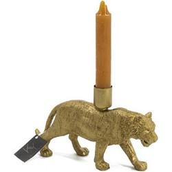 Kaarsenstandaard gouden leeuw lopend