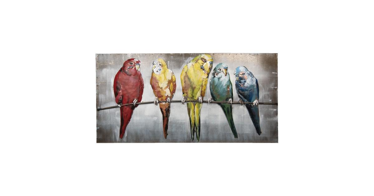 Wanddecoratie vogels   120*60*7 cm   Multi   Ijzer   Rechthoek   Papegaaien   Clayre & Eef   5WA0113