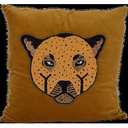 À la collection | Velvet kussen met luipaard | Okergeel | 45 x 45 cm