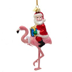 Noble Gems Santa With Flamingo 5.375 Inch