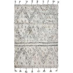 HK-living vloerkleed berber grijs wit patroon handgeknoopt wol 180x280cm