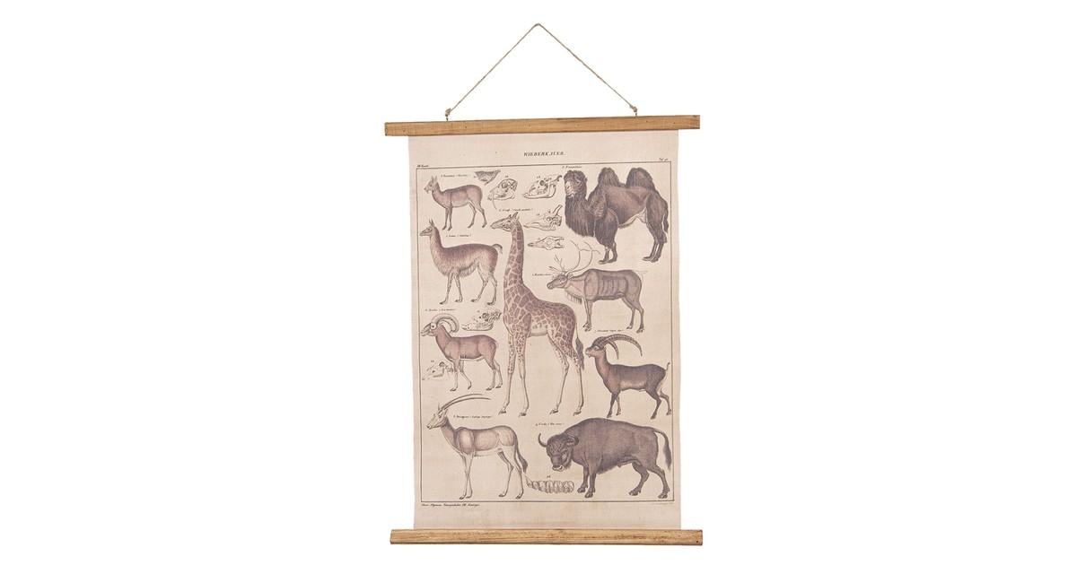 Wandkaart dieren | 55*2*70 cm | Multi | Linnen | Rechthoekig | Dieren | Clayre & Eef | 6WK0029