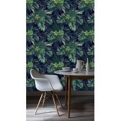 Zelfklevend behang Exotische planten groen zwart 3