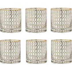 Nordal Clear waterglas tumbler goud motief per 6