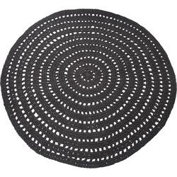 LABEL51 - Vloerkleed Knitted 150x150 cm - Industrieel - Zwart