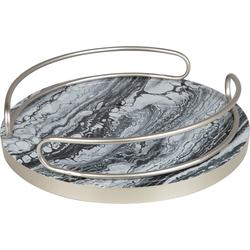 Dienblad marmer-look/zilver ROUEZ