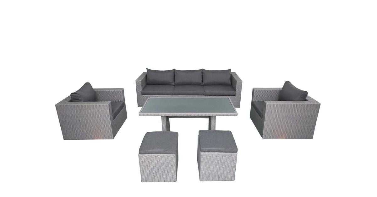 Fonteyn Salou loungeset met hoge tafel   Dark Grey