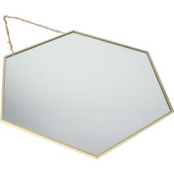 Orange85 - Spiegel goud - Met ophangketting - Wandspiegel - Goude spiegel - Hexagon - Honingraat