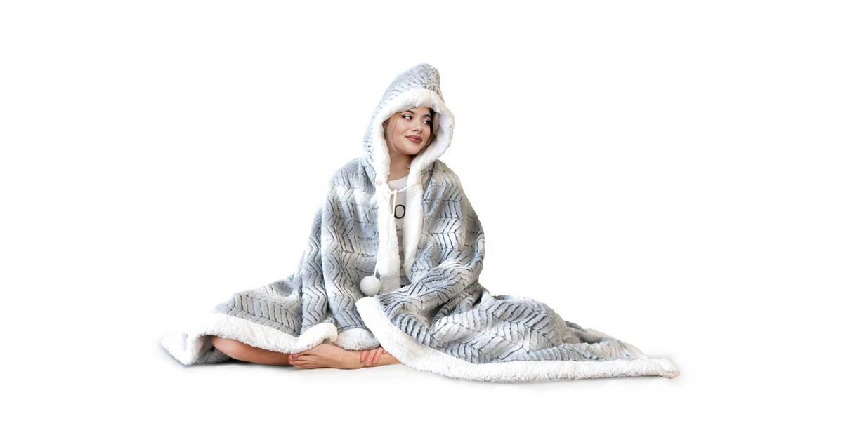 Elegance Hoodie Flanel Fleece Deken Met Capuchon Ice - light grey