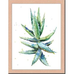 Aloe Vera - Fotoprint in houten frame - 30 X 40 X 2,5 cm