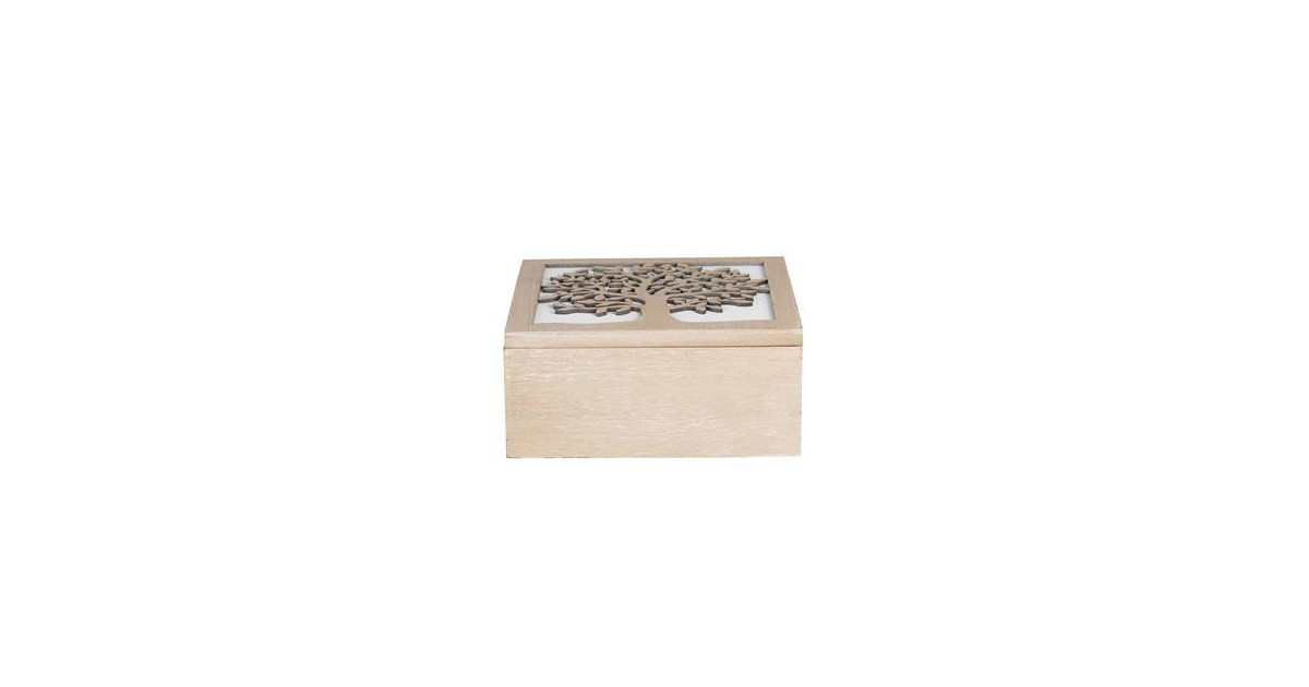 Clayre & Eef Kist van hout   20*20*9 cm   Bruin   Hout      6H1941