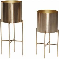Hübsch 270610 Bloempot op standaard - Set van 2 - ø25xH45cm en ø25xH55cm - Metaal - Goud