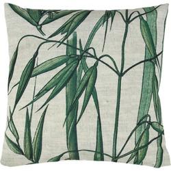 HK-living kussen, sierkussen geprint bamboe groen, wit 45x45 cm