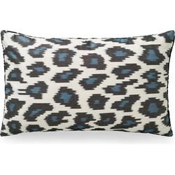 Ikat Kussen Fluweel Leopard blauw 40x60cm