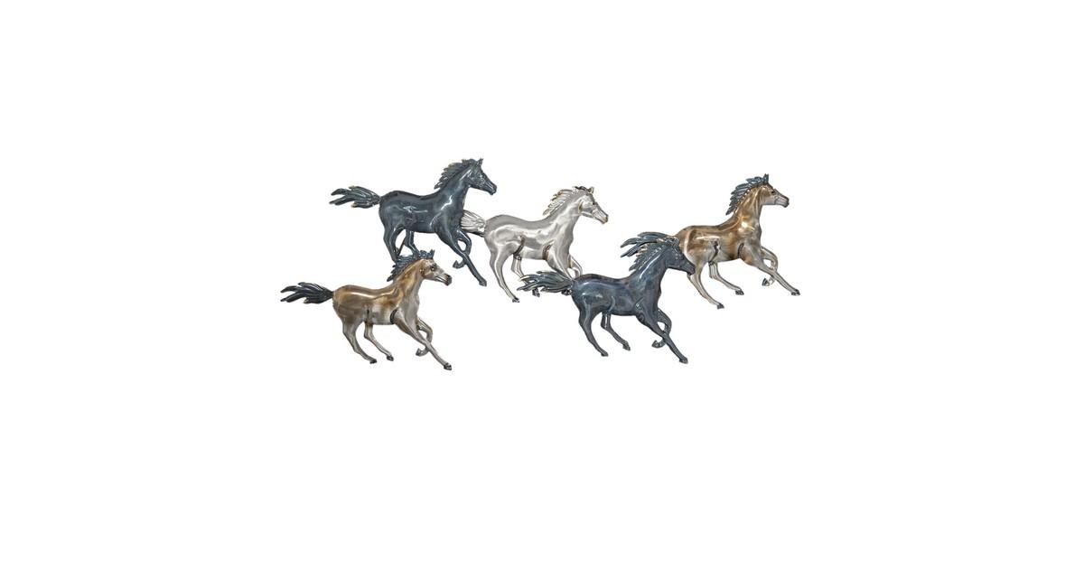 Wanddecoratie paarden | 119*49*6 cm | Zilverkleurig | Metaal | Paarden | Clayre & Eef | 5Y0534