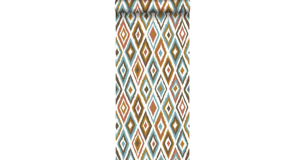 ESTAhome behang ikat motief bruin en vintage blauw