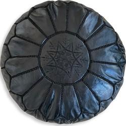 Leren Poef - Zwart - Handgemaakt en stijlvol - Gevuld geleverd - Poufs&Pillows