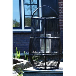 Lantaarn XXL 75 cm -Zwart incl glas