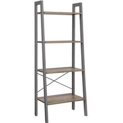 Nancy's Boekenkast Industrieel - Boekenstandaard - Ladderkast 4 Laags - Grijs- 56 x 34 x 137,5 cm