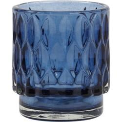 Theelicht Ø7x8 cm GRACE glas blauw