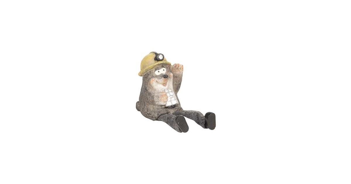 Clayre & Eef Decoratie Beeld Mol 7*7*10 cm Grijs Polyresin Decoratief Figuur Decoratieve Accessoires