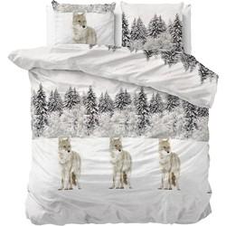 Sleeptime Dekbedovertrek Flanel Winter Wolf White-140x200/220