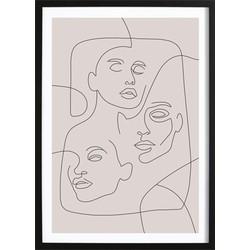 Line Art Faces Poster (21x29,7cm)