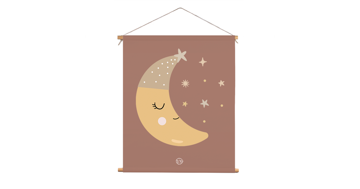 Textielposter kids maan slaapmutsje