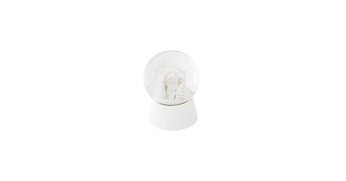 Clayre & Eef Sneeuwbol Huisje Ø 5*6 cm Wit Polyresin / Glas Rond