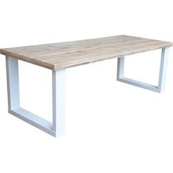 Wood4you - Eettafel New England wit industriële look 180Lx78Hx90D cm (U-poot)