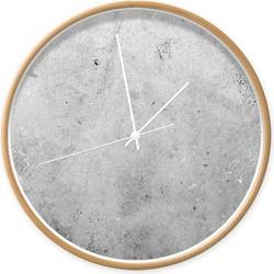 Klok beton 002 - Hout / wit