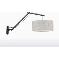 Good & Mojo Wandlamp - ANDES - Bamboe/linnen - Lange arm - Zwart - Product Kleur: Licht linnen / Product Met gloeilamp: Nee - Licht linnen