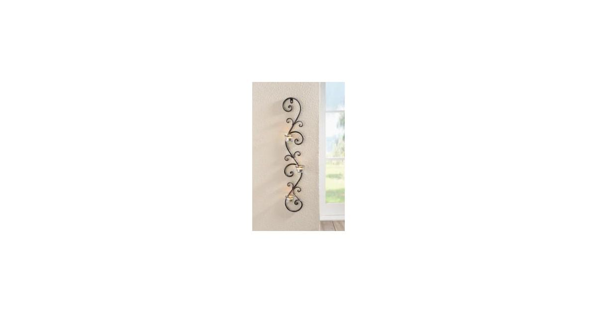 Wand windlicht met drie waxinehouders 75 cm