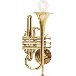 Kare Design Wandlamp Trumpet Jazz 1-Lichts B26 X H41 Cm - Goud