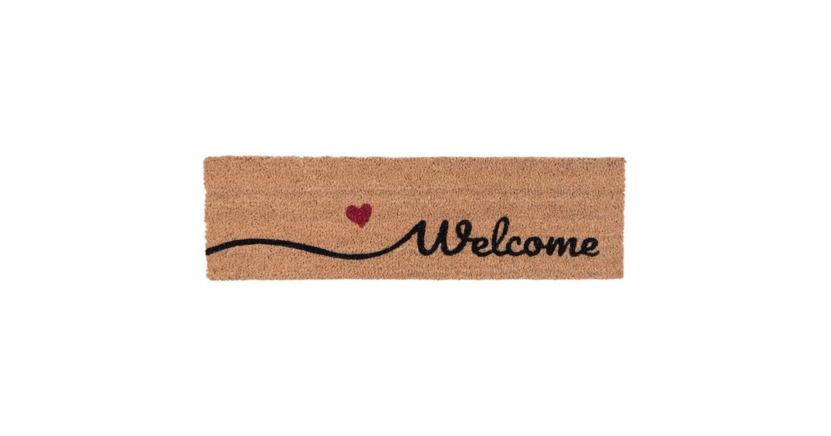 Clayre & Eef Clayre & Eef deurmat binnen MC128 75*22*2 cm bruin kokosvezel / rubber droogloopmat