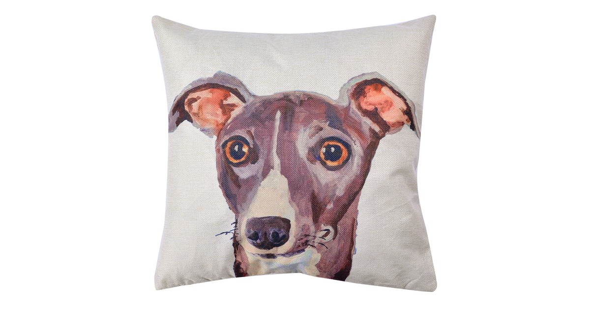Clayre & Eef Kussenhoes KT021.238 43*43 cm Wit, Grijs Polyester Vierkant Hond Sierkussenhoes