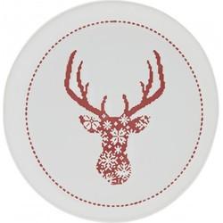 Clayre & Eef - bord Ø 17x2 cm - rood - aardewerk - rond - rendier - 6CE0843