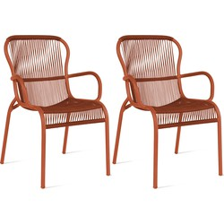 Vincent Sheppard Loop Dining Chair - Rope Tuinstoel - Set Van 2 - Terracotta