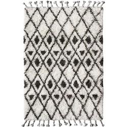 HK-living vloerkleed berber donkerbruin wit patroon handgeknoopt wol 120x180cm