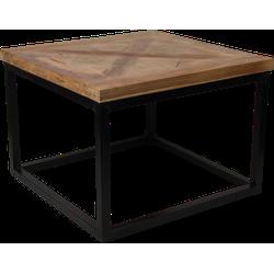 Salontafel Mozaiek - 55x55 cm - naturel wax/zwart - teak/ijzer