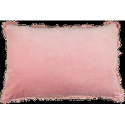 Sierkussen met franjes - katoen - 60x40 cm - roze