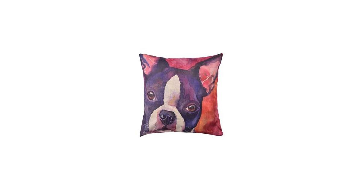 Clayre & Eef Kussenhoes KT021.237 43*43 cm Rood, Paars, Wit Polyester Vierkant Hond Sierkussenhoes