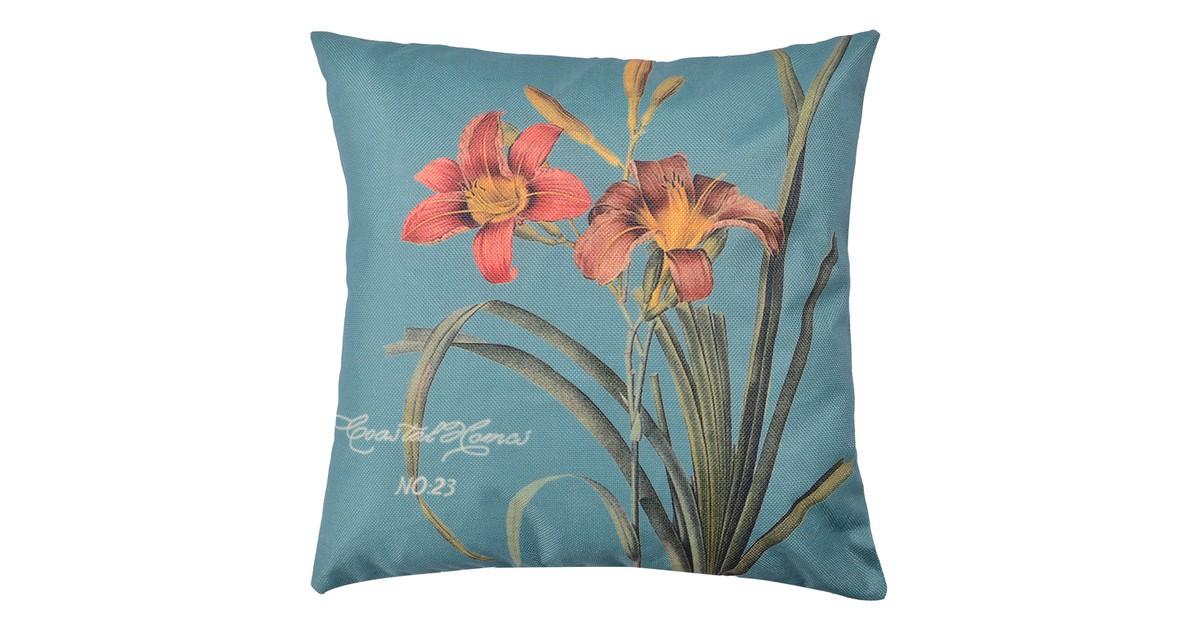 Clayre & Eef Kussenhoes KT021.257 43*43 cm Blauw, Groen Polyester Vierkant Bloemen Sierkussenhoes