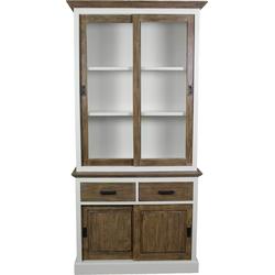 Bovenkast Hampshire 2-deurs - schuifdeuren - wit/oud rustiek