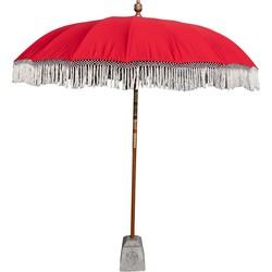 Todo Bien Bali Parasol rood met witte fringe en wit gehaakt binnenwerkt 250 cm