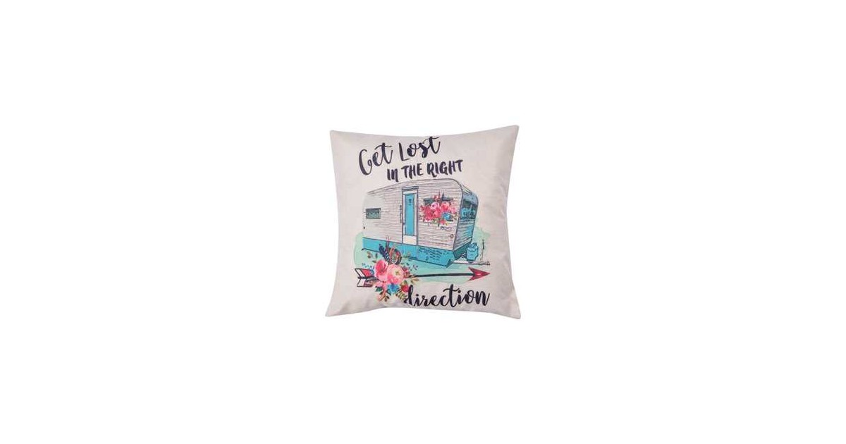 Clayre & Eef Kussenhoes KT021.225 43*43 cm Wit, Blauw, Roze Polyester Vierkant Sierkussenhoes